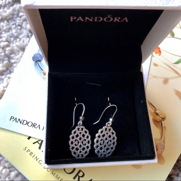 6e53e2171 Pandora Jewelry | New Shimmering Lace Dangle Earrings Retied | Poshmark
